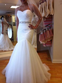 Trumpet/Mermaid Sleeveless Sweetheart Court Train Beading Tulle Wedding Dresses