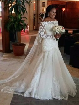 4d4ec3fa813 Trumpet Mermaid Off-the-Shoulder Long Sleeves Lace Sweep Train Tulle Wedding  Dresses