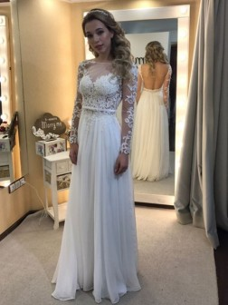 3e9c1f0ec0 A-Line Princess Bateau Floor-Length Long Sleeves Lace Chiffon Wedding  Dresses