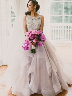 Ball Gown Sleeveless Scoop Beading Sweep/Brush Train Tull Wedding Dresses