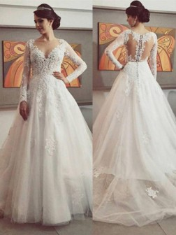 6946112db5 Ball Gown V-neck Long Sleeves Lace Court Train Tulle Wedding Dresses