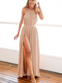 A-Line/Princess Halter Sleeveless Floor-Length Chiffon Dresses