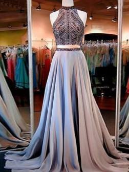 A-Line/Princess Sleeveless High Neck Satin Beading Floor-Length Train Two Piece Dresses