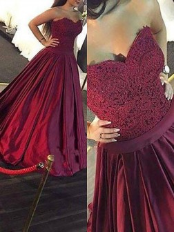 Ball Gown Sleeveless Sweetheart Lace Floor-Length Satin Dresses