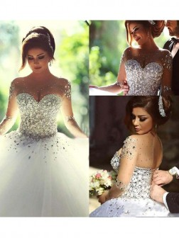 Ball Gown Long Sleeves Scoop Court Train Tulle Wedding Dresses