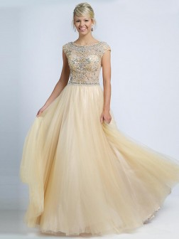 A-line/Princess Scoop Sleeveless Beading Floor-length Net Dresses