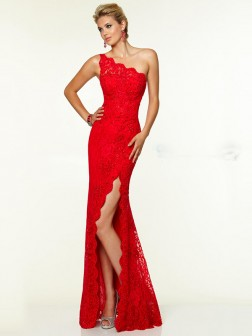 Sheath/Column Sleeveless One-Shoulder Lace Floor-Length Dresses