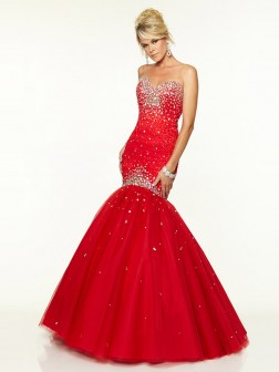Trumpet/Mermaid Sweetheart Sleeveless Tulle Floor-Length Beading Dresses