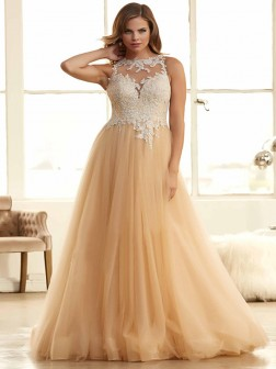 A-Line/Princess Bateau Sleeveless Tulle Applique Floor-Length Dresses
