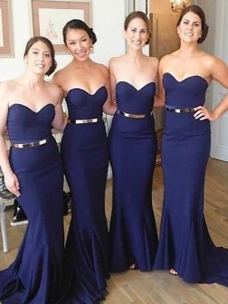 Trumpet/Mermaid Sweetheart Sweep/Brush Train Sleeveless Satin Bridesmaid Dresses