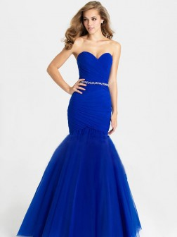 Trumpet/Mermaid Sweetheart Sleeveless Beading Floor-Length Tulle Dresses