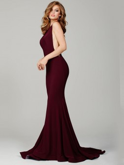 Trumpet/Mermaid Jewel Sleeveless Jersey Sweep/Brush Train Dresses