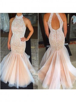 Trumpet/Mermaid Halter Sleeveless Beading Tulle Floor-Length Dresses