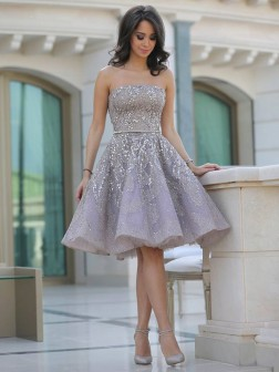 A-Line/Princess Strapless Sleeveless Sequin Knee-Length Satin Dresses