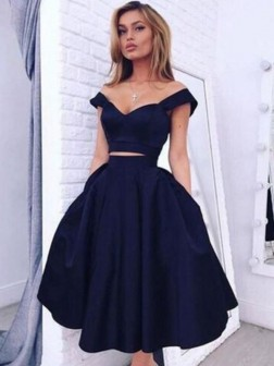 A-Line/Princess Off-the-Shoulder Sleeveless Knee-Length Taffeta Dresses