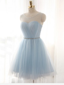 A-Line/Princess Scoop Beading Sleeveless Short/Mini Tulle Dresses