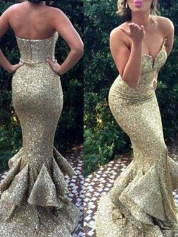 Trumpet/Mermaid Sweetheart Sleeveless Sweep/Brush Train Sequins Dresses