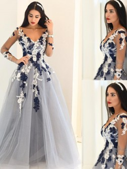 A-Line/Princess V-Neck Long Sleeves Applique Tulle Floor-Length Train Dresses