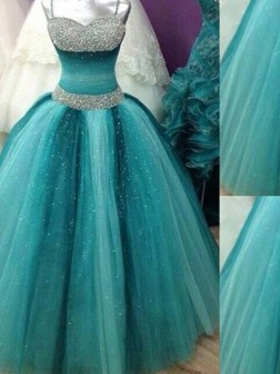 Ball Gown Spaghetti Straps Sleeveless Beading Tulle Floor-Length Dresses