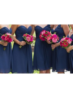 A-Line/Princess Sleeveless Sweetheart Short/Mini Chiffon Bridesmaid Dresses