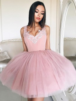 A-Line/Princess V-neck Sleeveless Tulle Short/Mini Dresses