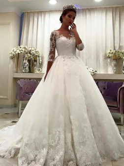Ball Gown Bateau 3/4 Sleeves Lace Court Train Tulle Wedding Dresses