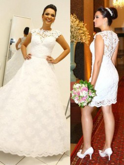 Ball Gown Scoop Lace Sleeveless Floor-Length Wedding Dresses