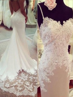 Trumpet/Mermaid Applique Satin Spaghetti Straps Sleeveless Court Train Wedding Dresses