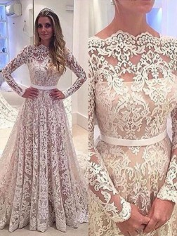 A-Line/Princess Bateau Long Sleeves Lace Court Train Wedding Dresses