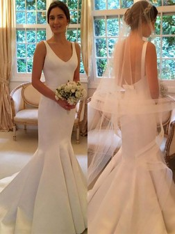 Trumpet/Mermaid V-neck Satin Sleeveless Sweep/Brush Train Wedding Dresses