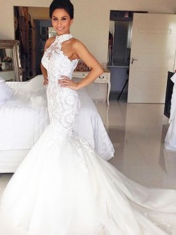 Trumpet/Mermaid Halter Court Train Tulle Sleeveless Wedding Dresses