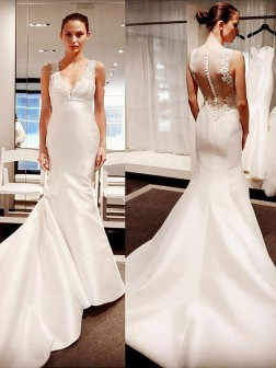 Trumpet/Mermaid V-neck Court Train Satin Sleeveless Wedding Dresses