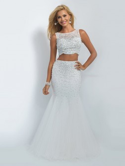 Trumpet/Mermaid Bateau Sleeveless Beading Organza Floor-Length Two Piece Dresses