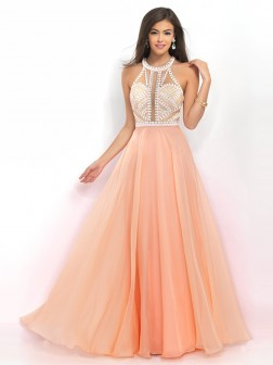 A-Line/Princess Sleeveless High Neck Chiffon Beading Floor-Length Dresses