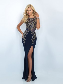 Sheath/Column Scoop Sleeveless Jersey Rhinestone Sweep/Brush Train Dresses