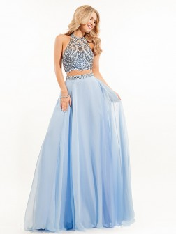 A-Line/Princess Sleeveless Chiffon Beading High Neck Sweep/Brush Train Dresses