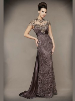Sheath/Column High Neck Sleeveless Beading Floor-length Taffeta Dresses