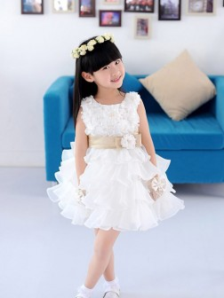 A-line/Princess Scoop Sleeveless Hand-made Flower Short/Mini Organza Flower Girl Dresses