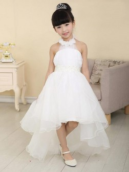 A-line/Princess High Neck Sleeveless Beading Asymmetrical Organza Flower Girl Dresses