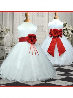 A-line/Princess Scoop Sleeveless Hand-made Flower Floor-length Organza Flower Girl Dresses