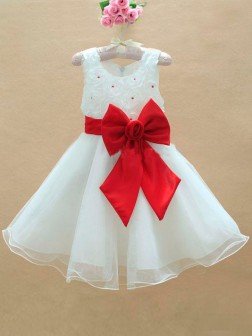 A-line/Princess Scoop Sleeveless Floor-length Bowknot Organza Flower Girl Dresses