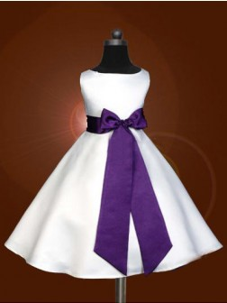 A-line/Princess Scoop Sleeveless Bowknot Floor-length Satin Flower Girl Dresses