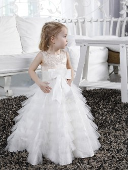 A-line/Princess Scoop Bowknot Sleeveless Floor-length Tulle Flower Girl Dresses