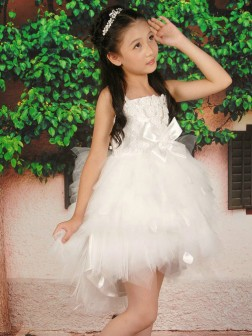 A-line/Princess Straps Sleeveless Hand-made Flower Short/Mini Tulle Flower Girl Dresses