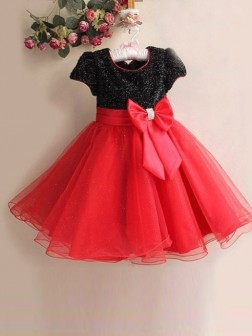A-line/Princess Scoop Short Sleeves Bowknot Floor-length Organza Flower Girl Dresses