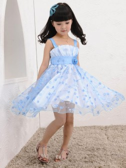 A-line/Princess Straps Sleeveless Hand-made Flower Knee-length Tulle Flower Girl Dresses