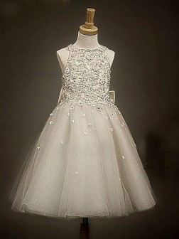 A-line/Princess Scoop Sleeveless Bowknot Ankle-length Organza Flower Girl Dresses
