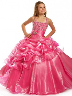 Ball Gown Straps Sleeveless Beading Floor-length Taffeta Flower Girl Dresses