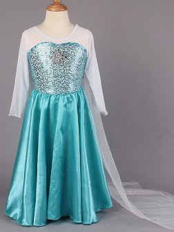 A-line/Princess Scoop Long Sleeves Beading Floor-length Satin Flower Girl Dresses