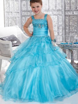 Ball Gown Straps Beading Sleeveless Floor-length Organza Flower Girl Dresses